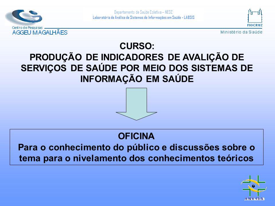 CURSO: PRODUÇÃO DE INDICADORES DE AVALIÇÃO DE SERVIÇOS DE SAÚDE POR MEIO DOS SISTEMAS DE INFORMAÇÃO EM SAÚDE.
