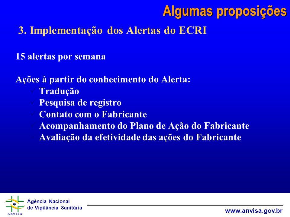 Algumas proposições 3. Implementação dos Alertas do ECRI