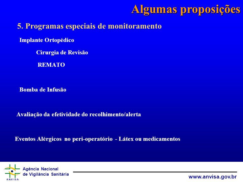 Algumas proposições 5. Programas especiais de monitoramento