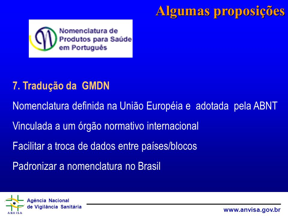 Algumas proposições 7. Tradução da GMDN