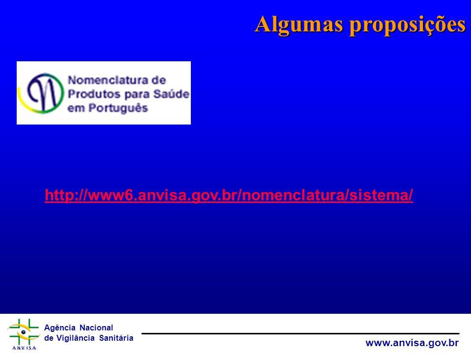 Algumas proposições http://www6.anvisa.gov.br/nomenclatura/sistema/