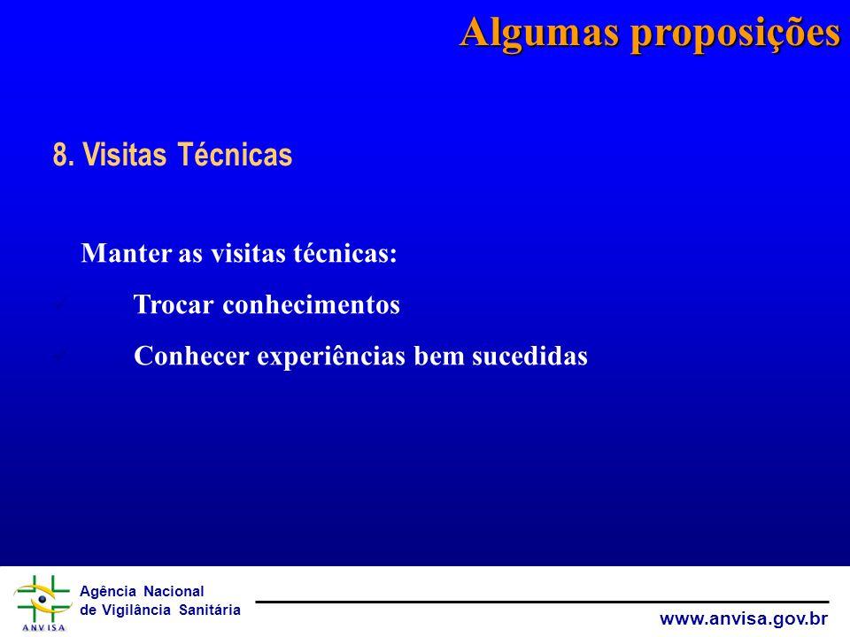 Algumas proposições 8. Visitas Técnicas Manter as visitas técnicas:
