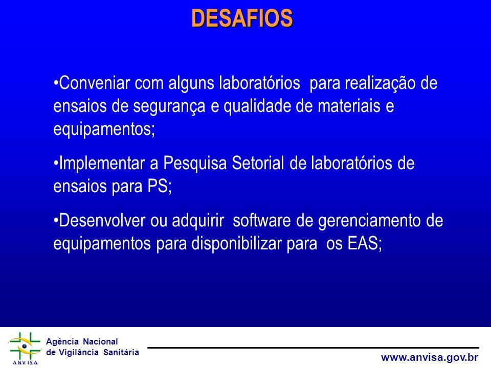 DESAFIOS Conveniar com alguns laboratórios para realização de ensaios de segurança e qualidade de materiais e equipamentos;
