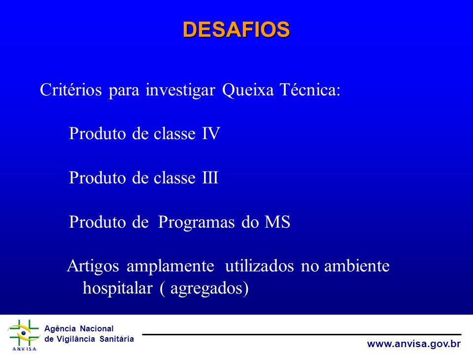 DESAFIOS Critérios para investigar Queixa Técnica: