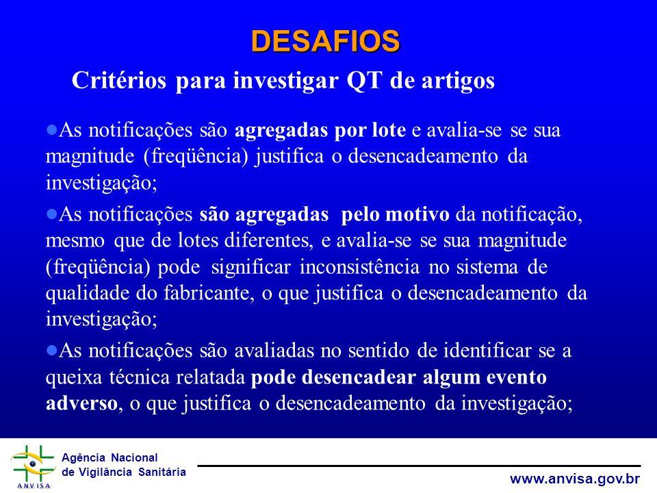 DESAFIOS Critérios para investigar QT de artigos