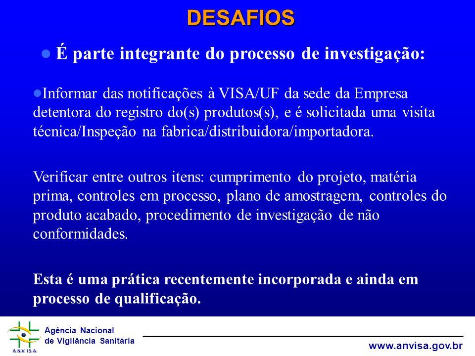DESAFIOS É parte integrante do processo de investigação: