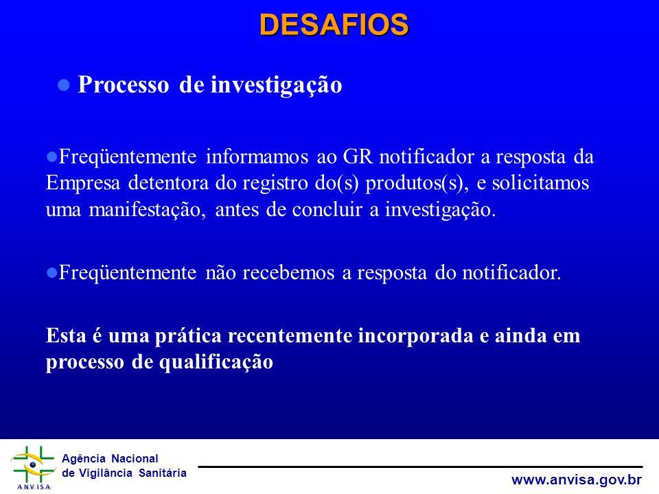 DESAFIOS Processo de investigação