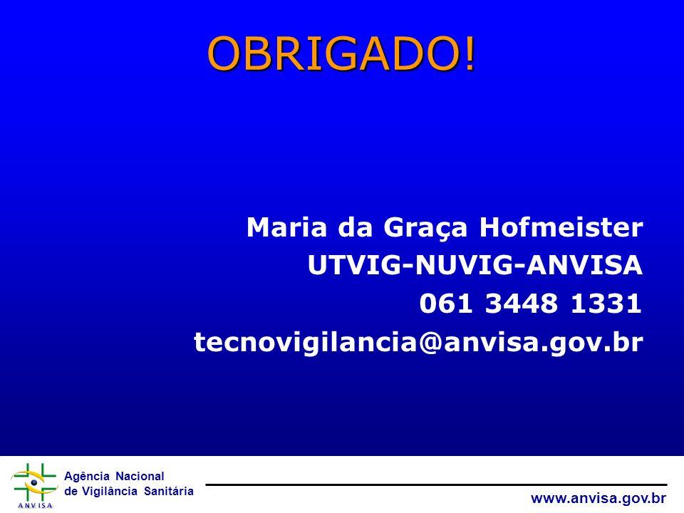 OBRIGADO! Maria da Graça Hofmeister UTVIG-NUVIG-ANVISA 061 3448 1331