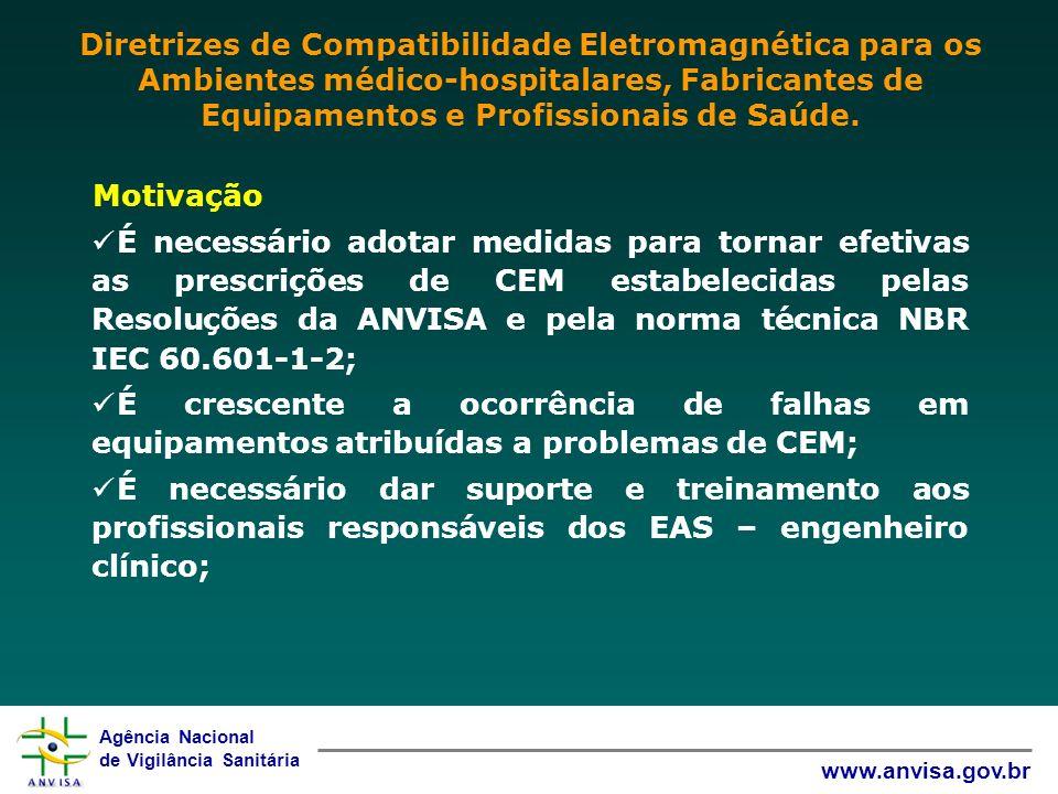 Diretrizes de Compatibilidade Eletromagnética para os Ambientes médico-hospitalares, Fabricantes de Equipamentos e Profissionais de Saúde.