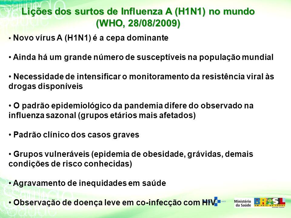 Lições dos surtos de Influenza A (H1N1) no mundo (WHO, 28/08/2009)