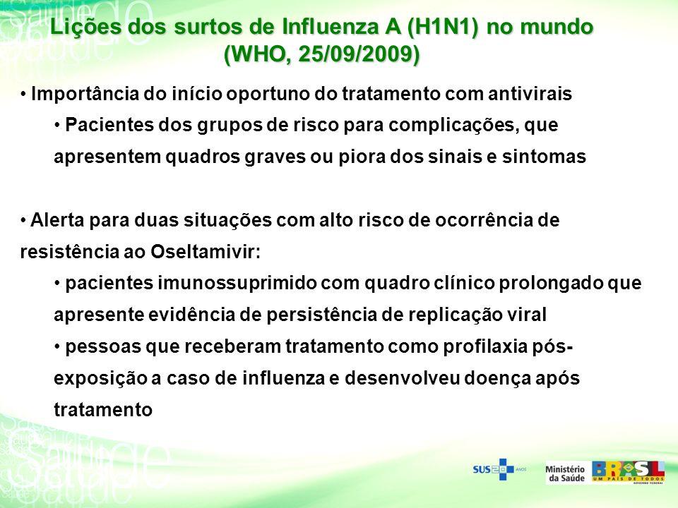 Lições dos surtos de Influenza A (H1N1) no mundo (WHO, 25/09/2009)