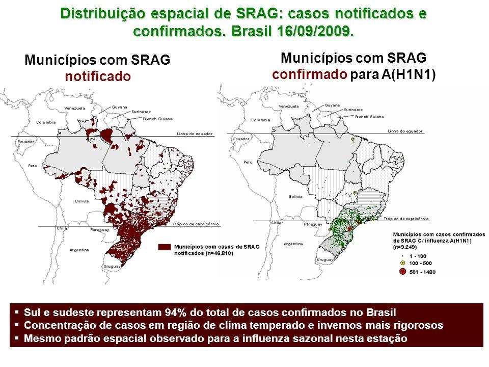 Distribuição espacial de SRAG: casos notificados e confirmados
