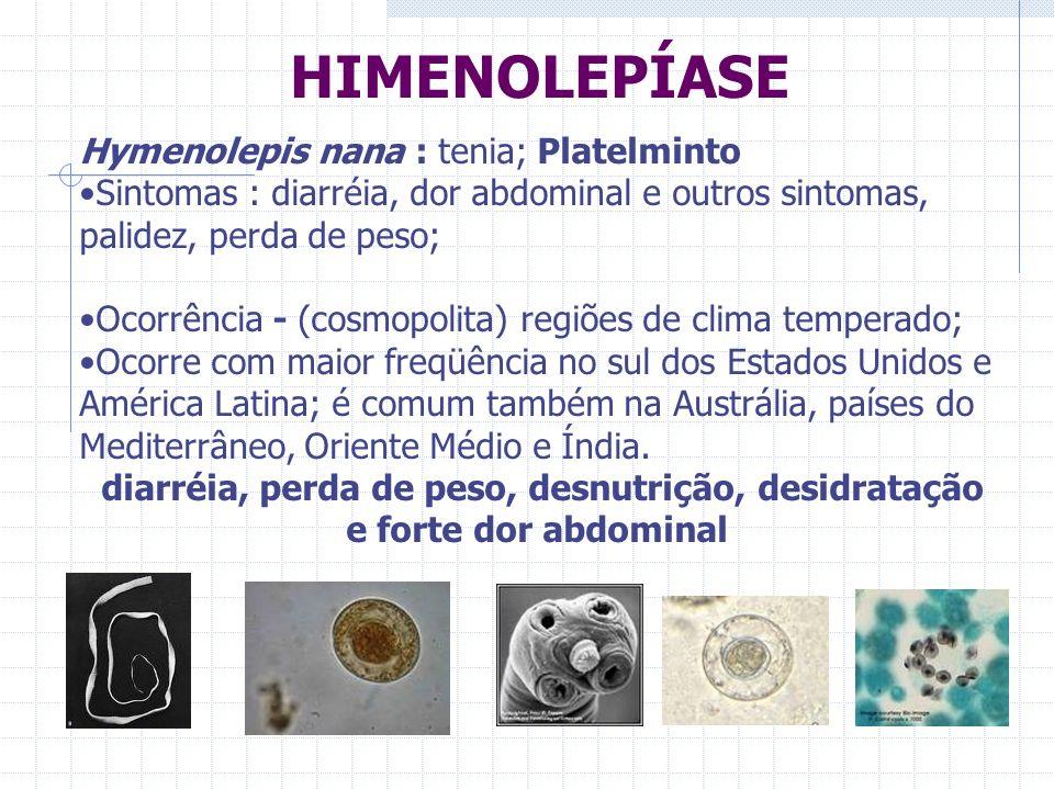 HIMENOLEPÍASE Hymenolepis nana : tenia; Platelminto