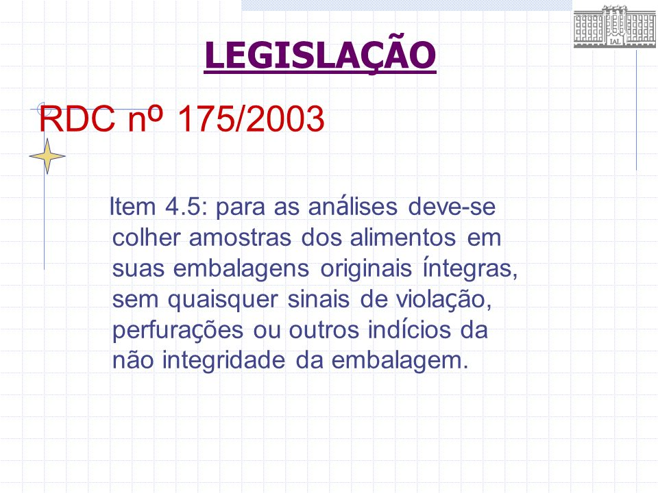 LEGISLAÇÃO RDC nº 175/2003.