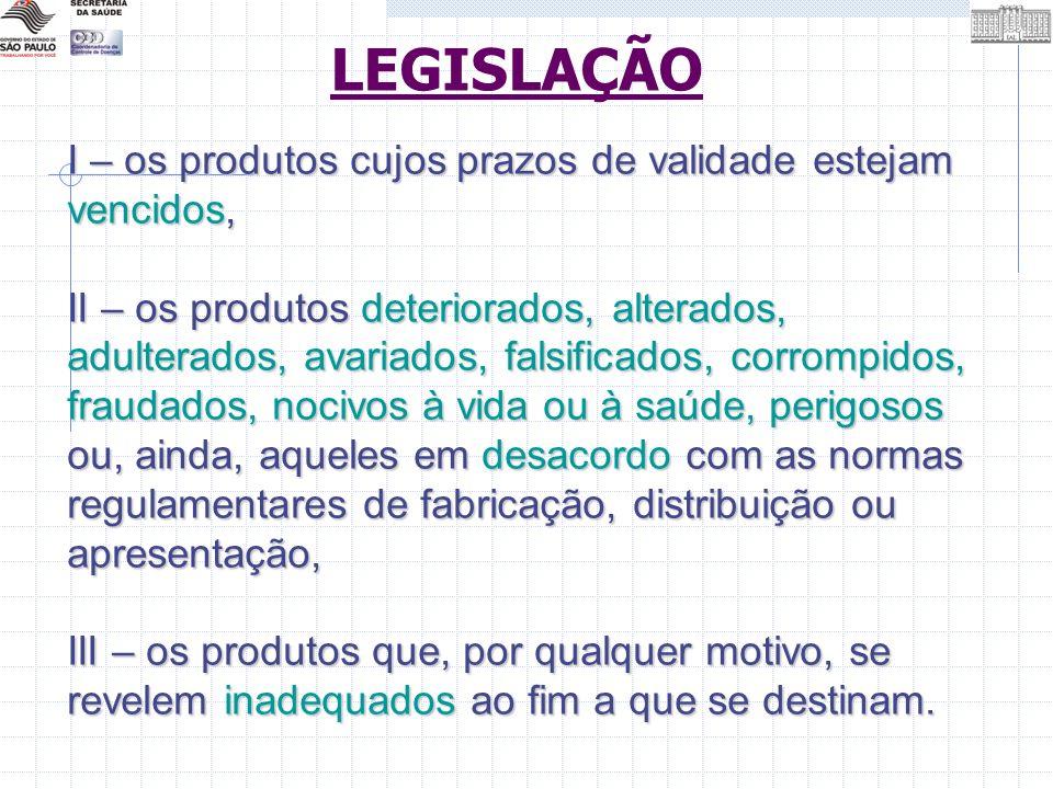 LEGISLAÇÃO I – os produtos cujos prazos de validade estejam vencidos,