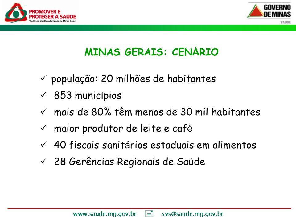 MINAS GERAIS: CENÁRIO população: 20 milhões de habitantes. 853 municípios. mais de 80% têm menos de 30 mil habitantes.