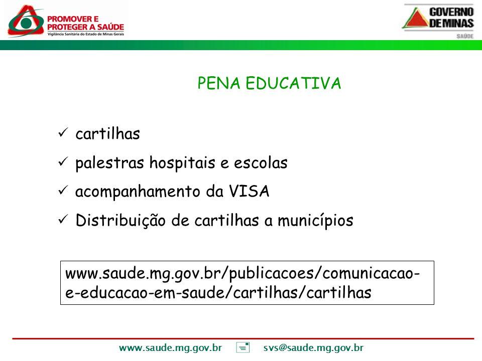 VI – PENA EDUCATIVA cartilhas palestras hospitais e escolas