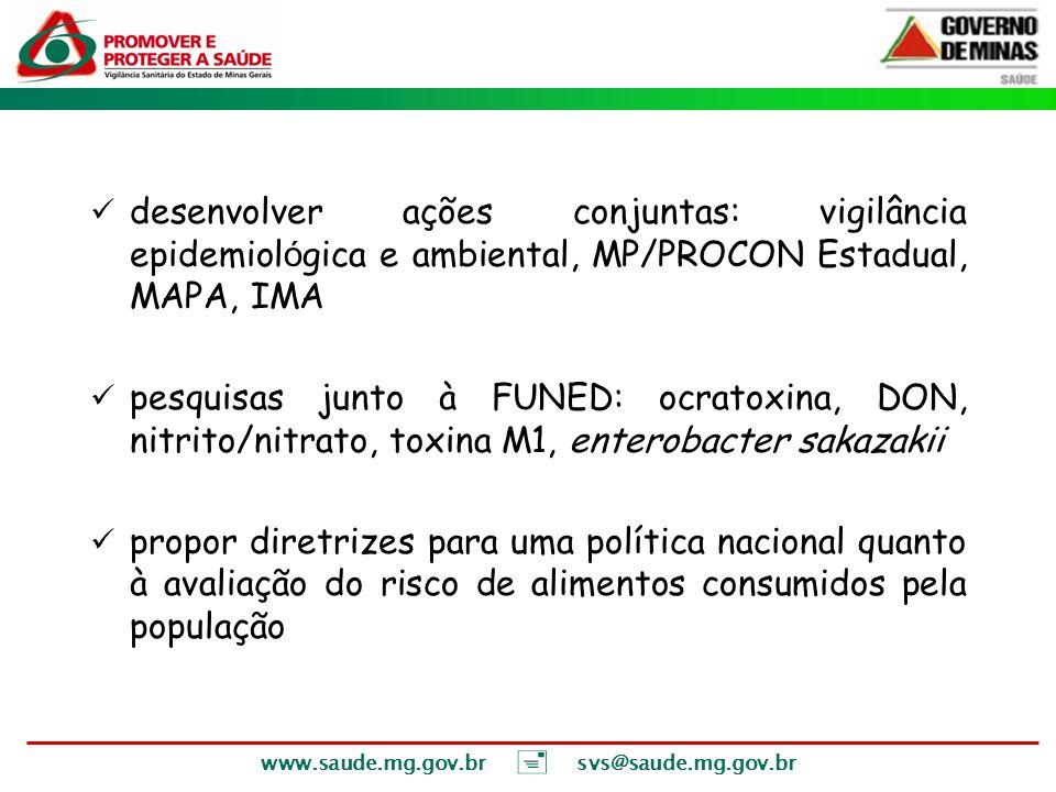 desenvolver ações conjuntas: vigilância epidemiológica e ambiental, MP/PROCON Estadual, MAPA, IMA