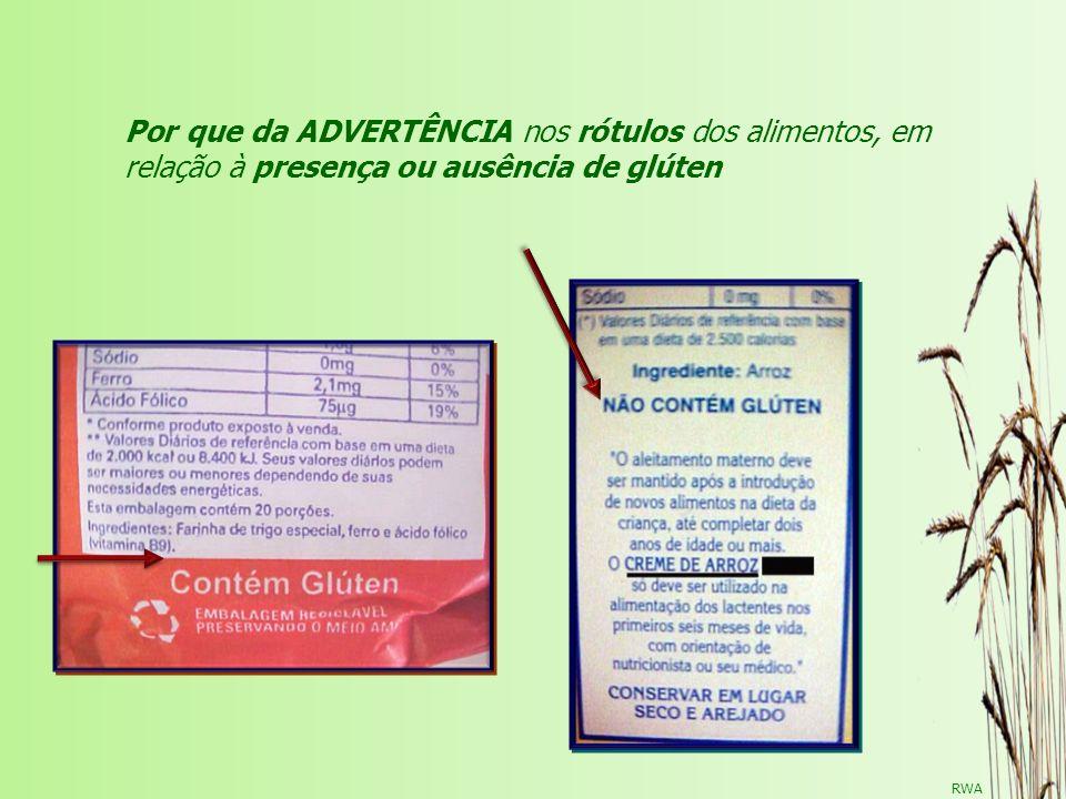 Por que da ADVERTÊNCIA nos rótulos dos alimentos, em relação à presença ou ausência de glúten
