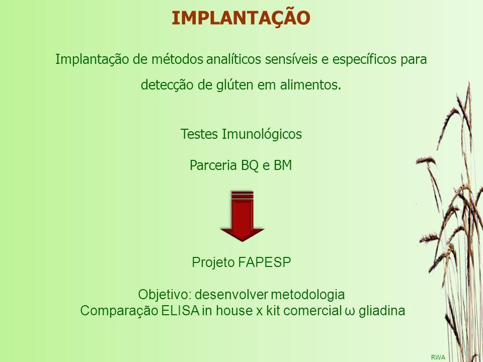 IMPLANTAÇÃOImplantação de métodos analíticos sensíveis e específicos para. detecção de glúten em alimentos.