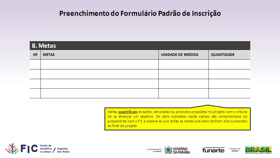 Preenchimento do Formulário Padrão de Inscrição