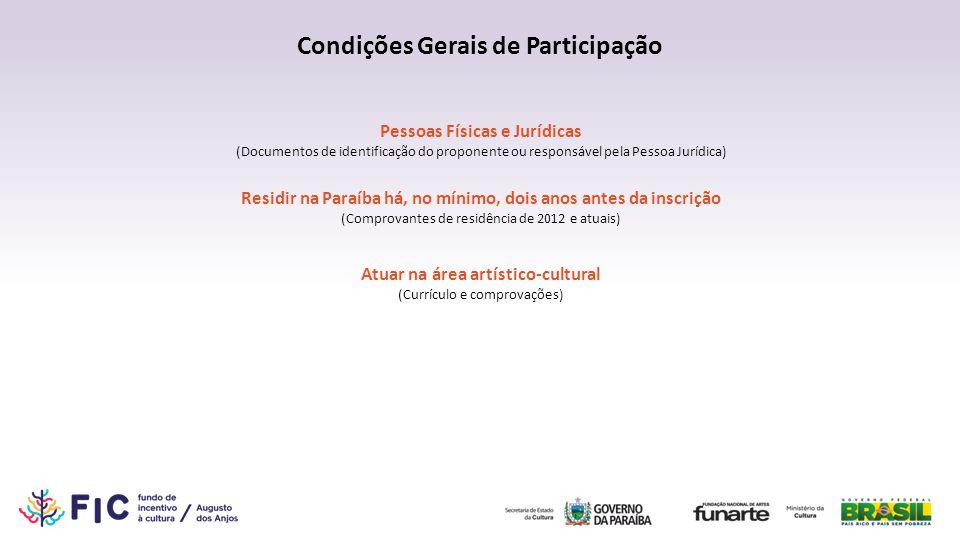 Condições Gerais de Participação