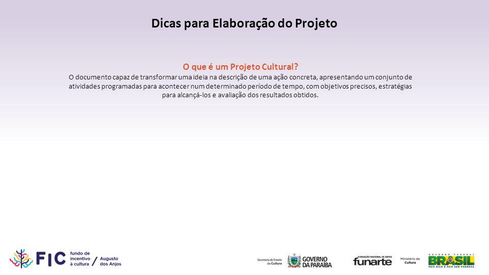 Dicas para Elaboração do Projeto O que é um Projeto Cultural