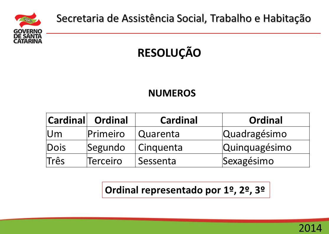 RESOLUÇÃO NUMEROS Cardinal Ordinal Um Primeiro Quarenta Quadragésimo