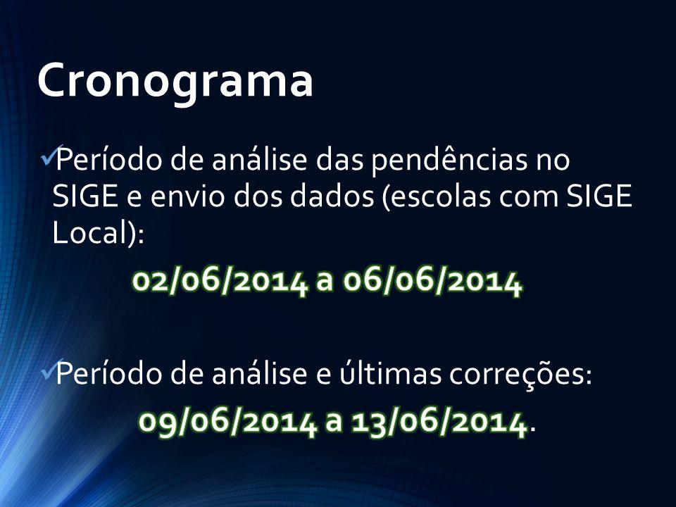 Cronograma 02/06/2014 a 06/06/2014 09/06/2014 a 13/06/2014.