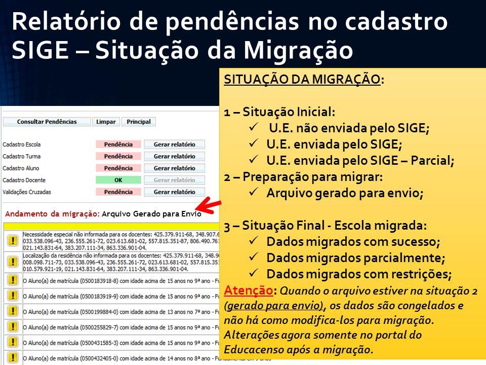 Relatório de pendências no cadastro SIGE – Situação da Migração