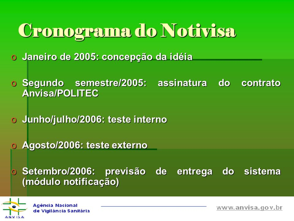 Cronograma do Notivisa