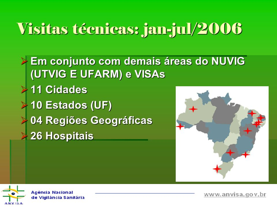 Visitas técnicas: jan-jul/2006