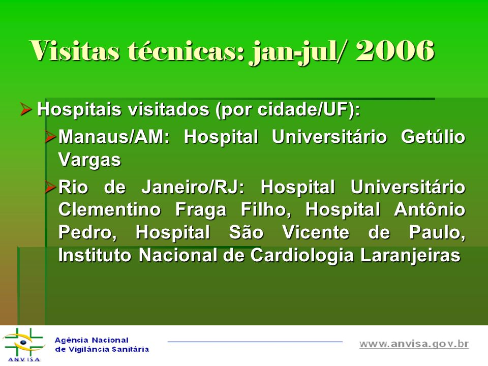 Visitas técnicas: jan-jul/ 2006