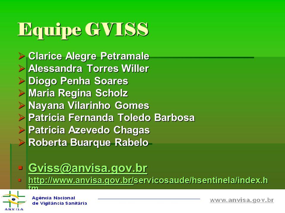 Equipe GVISS Gviss@anvisa.gov.br Clarice Alegre Petramale