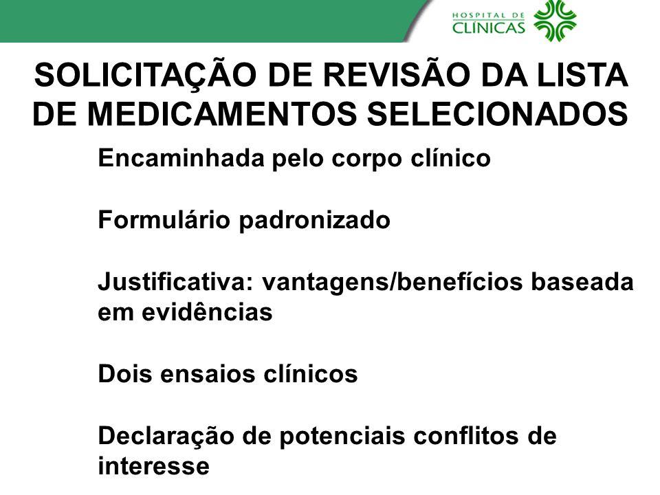 SOLICITAÇÃO DE REVISÃO DA LISTA DE MEDICAMENTOS SELECIONADOS