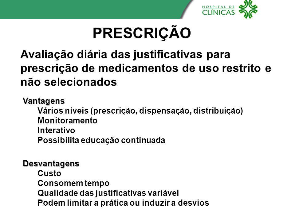 PRESCRIÇÃOAvaliação diária das justificativas para prescrição de medicamentos de uso restrito e não selecionados.