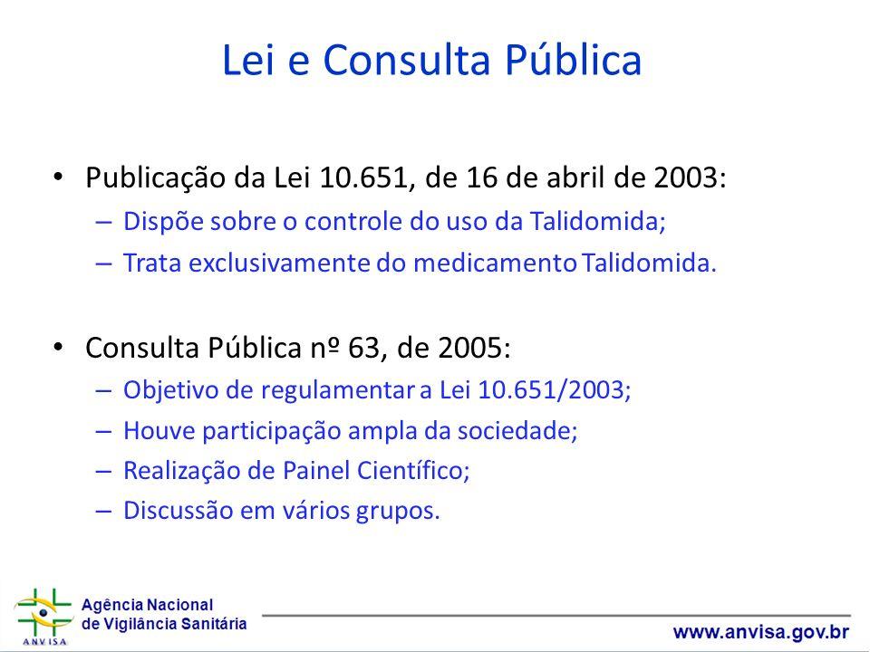 Lei e Consulta PúblicaPublicação da Lei 10.651, de 16 de abril de 2003: Dispõe sobre o controle do uso da Talidomida;