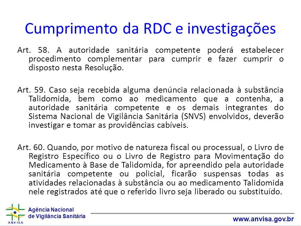 Cumprimento da RDC e investigações