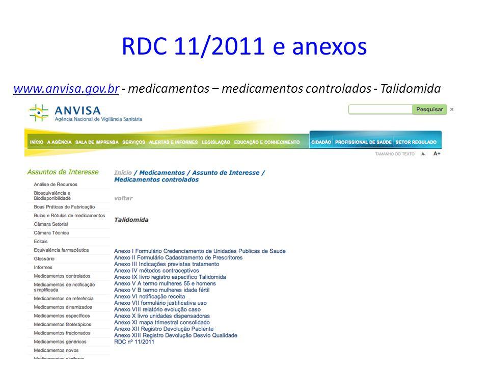 RDC 11/2011 e anexos www.anvisa.gov.br - medicamentos – medicamentos controlados - Talidomida
