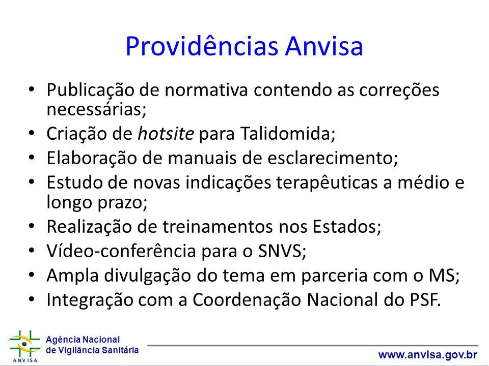 Providências AnvisaPublicação de normativa contendo as correções necessárias; Criação de hotsite para Talidomida;