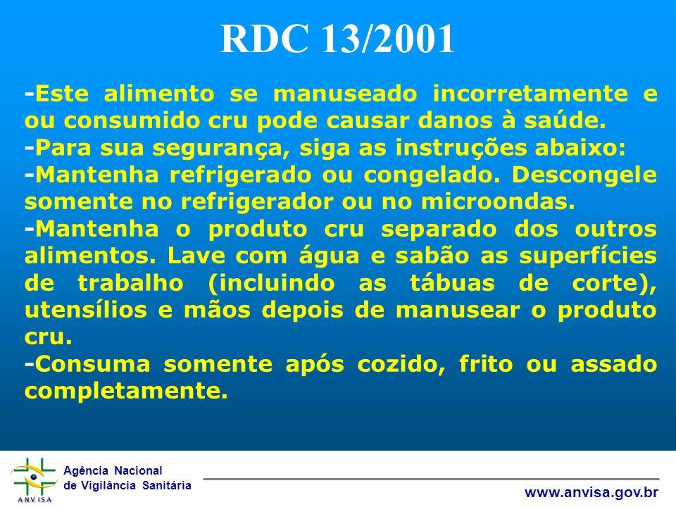 RDC 13/2001 -Este alimento se manuseado incorretamente e ou consumido cru pode causar danos à saúde.