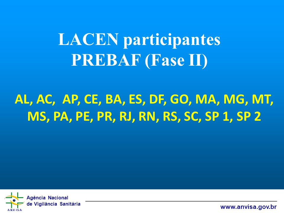 LACEN participantes PREBAF (Fase II)