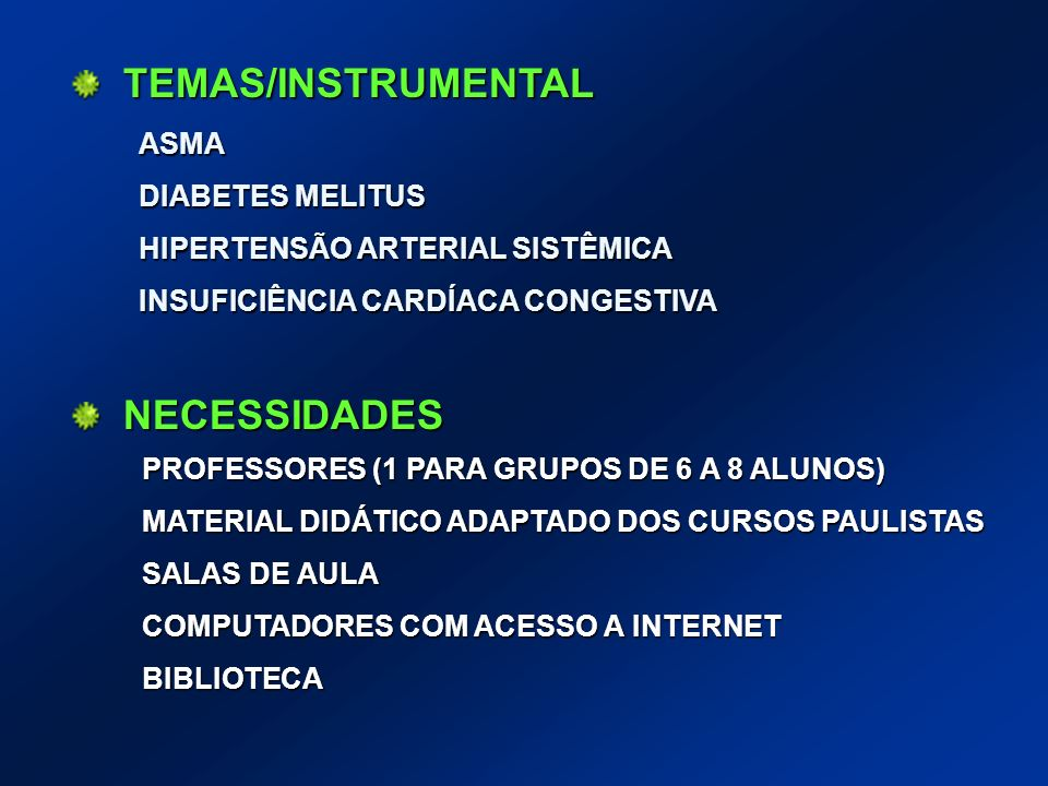 TEMAS/INSTRUMENTAL NECESSIDADES ASMA DIABETES MELITUS