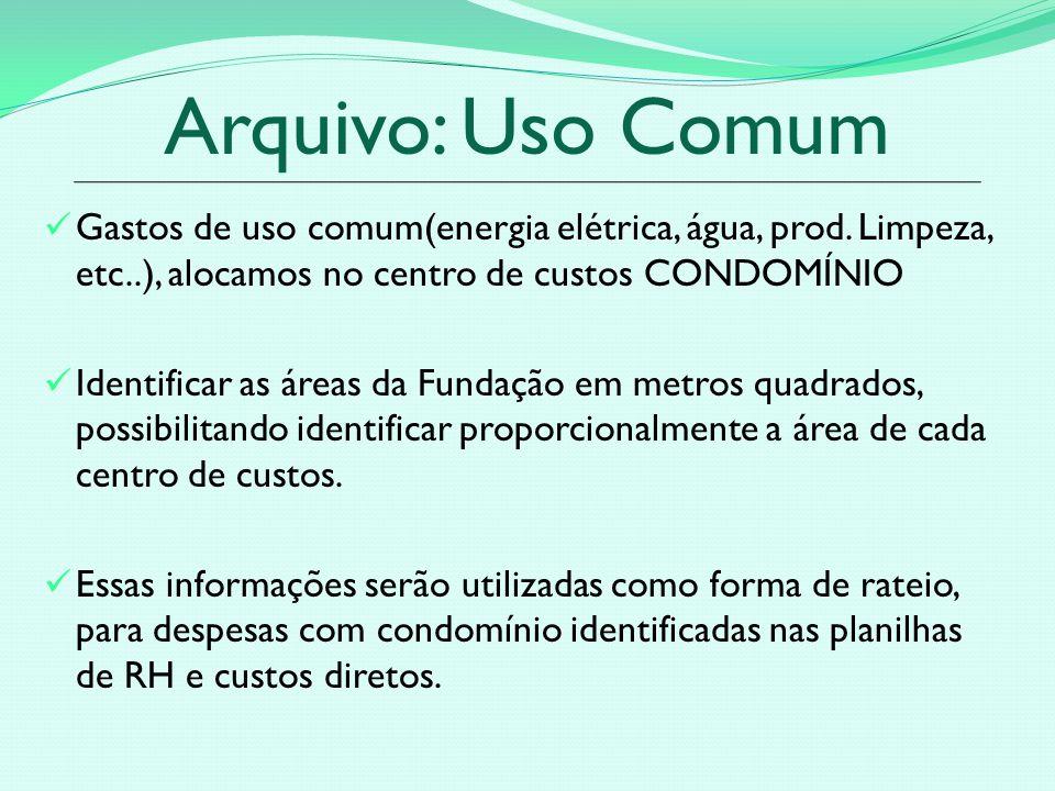 Arquivo: Uso Comum Gastos de uso comum(energia elétrica, água, prod. Limpeza, etc..), alocamos no centro de custos CONDOMÍNIO.