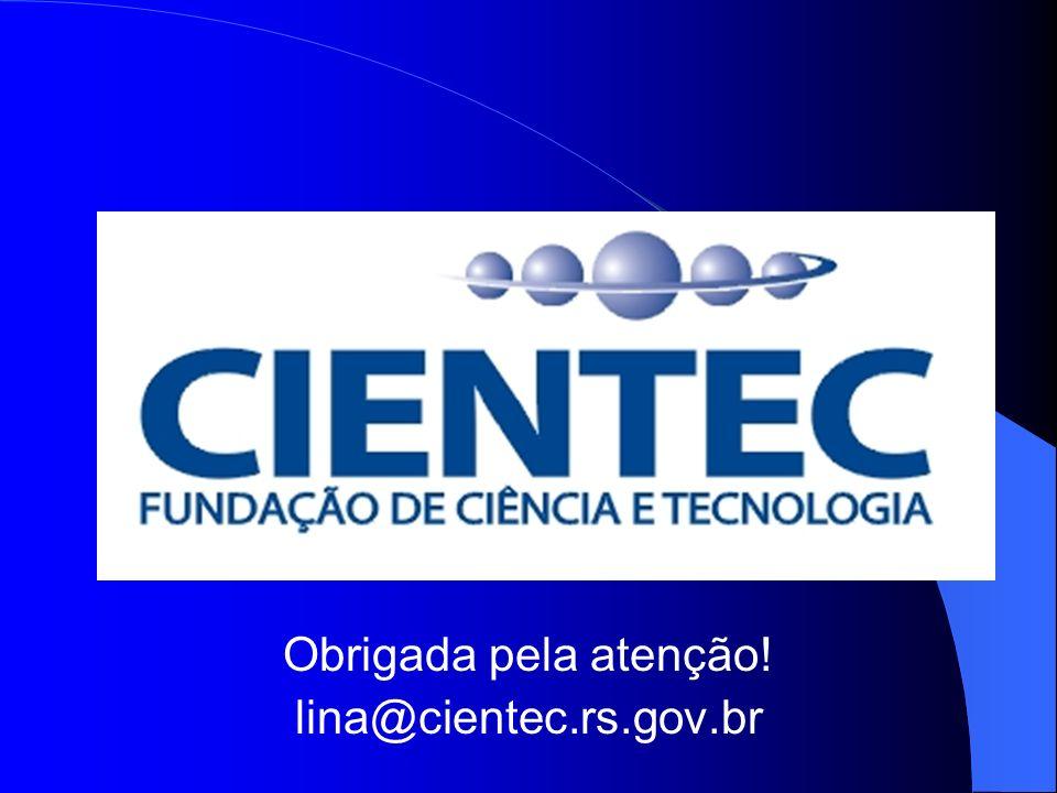 Obrigada pela atenção! lina@cientec.rs.gov.br