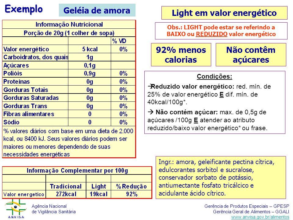Light em valor energético