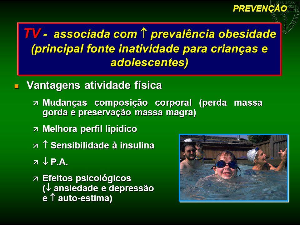 PREVENÇÃO TV - associada com  prevalência obesidade (principal fonte inatividade para crianças e adolescentes)
