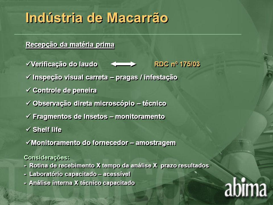 Indústria de Macarrão Recepção da matéria prima