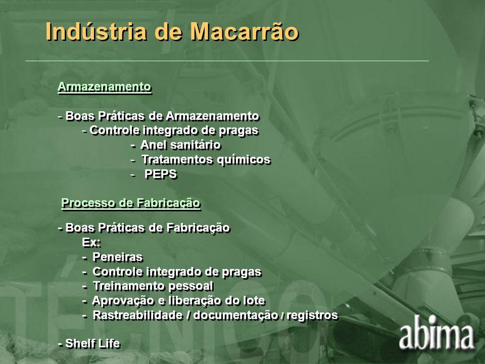 Indústria de Macarrão Armazenamento Boas Práticas de Armazenamento