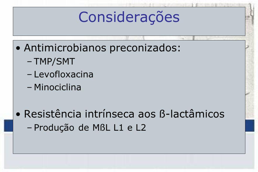 Considerações Antimicrobianos preconizados:
